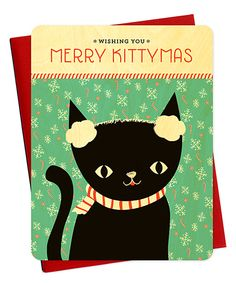 Look at this #zulilyfind! Kittymas Real Wood Card - Set of Six by Night Owl Paper Goods #zulilyfinds