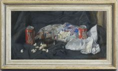 George Weissbort (1928-2013), Still life with Coca Cola cans, a glass tankard & popcorn (1968), oil on canvas laid on board, 37.1 x 71.8 cm. Reproduction French Louis XVI entablature frame with painted finish