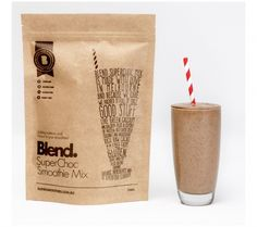SuperChoc Smoothie Mix #packaging #kraftpackaging #standuppouch curated by Copious Bags™