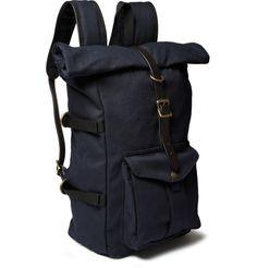 Filson - Leather-Trimmed Twill Backpack|MR PORTER