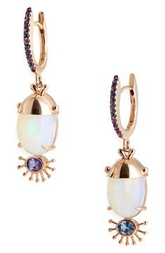 Rose Gold Earrings, Gemstone Earrings, Drop Earrings, Opal, Amethyst, Sapphire, Anniversary Sale, Pink And Gold