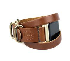 Apple Watch Triple Tour Band Medium Brown Full by ArrowandBoard gold hardware