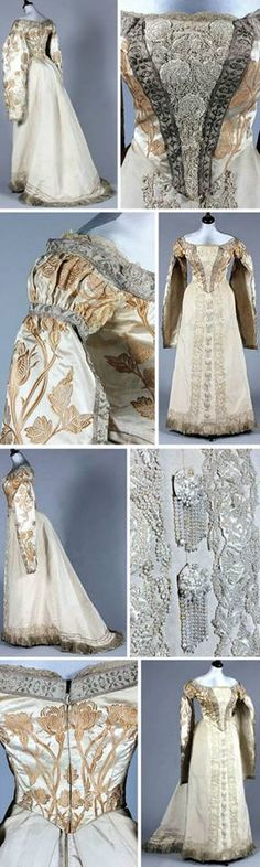 Court dress, Worth, ca. 1890. Brocaded satin woven with gold silk roses. Front plastron & skirt panels covered with silk floss & pearl-beaded roses. Hanging sleeves edged in silver braid. Made for the Russian court.