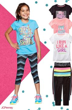 Get your girl recess ready with a look that's fit for a champion. A sassy graphic t-shirt and bright yoga pants will add a touch of fun to her active style.