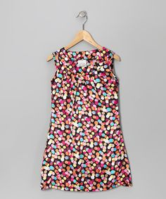 Take a look at this Rainbow Polka Dot Satin Shift Dress - Girls by Made in the USA Collection on #zulily today!