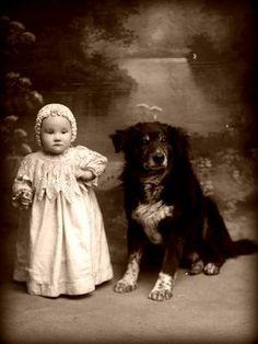 Vintage photo- baby child & dog