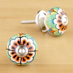 Round Multicolored Floral Ceramic Knobs