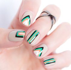 Unique and Creative Geometric Nail Designs For You. If you are looking for nail art designs and are still undecided then you are in the right place. We have put together unique ve beautiful geometric nail designs for you. Tribal Nail Designs, Geometric Nail Art, Nail Art Designs, Geometric Shapes, Geometric Designs, Edgy Nails, Tribal Nails, Cute Nails, Posh Nails