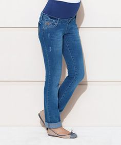 This Light Blue Mid-Belly Maternity Straight-Leg Jeans - Women by Ebru Maternity is perfect! #zulilyfinds