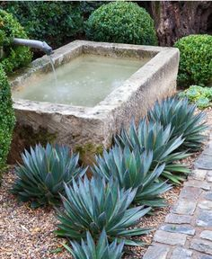 12 ideas for modern Mediterranean gardens and simple ideas for modern Mediterranean gardens sim - Fountains backyard, Mediterranean garden, Water features in the garden, Deck garden, Seaside garden - Outdoor Water Features, Water Features In The Garden, Stone Water Features, Modern Water Feature, Small Water Features, Backyard Water Feature, Modern Landscaping, Backyard Landscaping, Landscaping Ideas