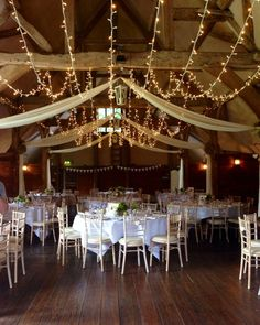 Our fairy light canopy at the gorgeous Lains Barn #wedding #lighting