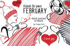 Hand-Drawn February Collection by Tanya Kart on @creativemarket