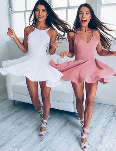 Simple V-neck Sleeveless Blush Elastic Satin Short A-line Prom Dress