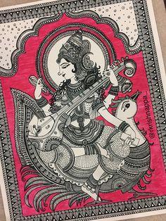 Hindu Goddess Saraswathi Art Print Home Decor image 1 Doodle Art Drawing, Mandala Drawing, Art Drawings, Doodle Paint, Mandala Artwork, Drawing Drawing, Kerala Mural Painting, Indian Art Paintings, Abstract Paintings