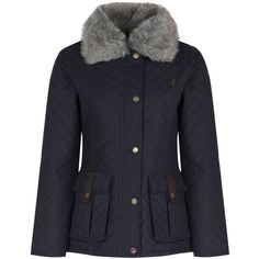 Women's Jack Murphy Charlize Waxed Jacket (204070 IQD) ❤ liked on Polyvore featuring outerwear, jackets, quilted jacket, waxed jackets, fur collar jacket and waxed cotton jacket