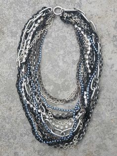 love the shot of blue in this necklace
