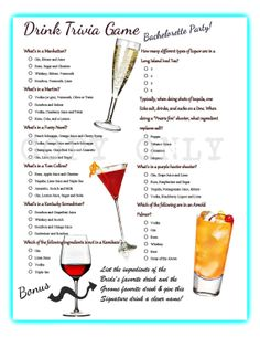 Drink Trivia Game for Bachelorette Party! Instant Download