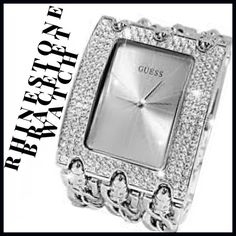 Guess Rhinestone Bracelet Watch A triple chained rhinestone encrusted bracelet watch. Guess Accessories Watches