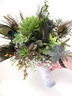 peacock feather foliage bouquet - Google Search