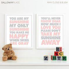 Items similar to Baby Girl Nursery Decor Girls Nursery Art, Baby Girl Gifts, Girl Nursery Wall Quotes Lyrics You Are My Sunshine Nursery Subway Art - on Etsy Baby Boy Nursery Decor, Baby Boy Nurseries, Nursery Art, Nursery Prints, Nursery Ideas, Alphabet Nursery, Abc Alphabet, Room Baby, Baby Rooms