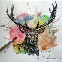 Hohe Qualität A4\A3 Digitaldruck von meinem jüngsten Mischtechnik zeichnen Hirsch. Der Druck ist von meiner ursprünglichen Zeichnung. Über einen Zeitraum von einer Woche war meine ursprüngliche Zeichnung gemalt. Die Zeichnung wurde mit Castell Aquarell, Fabercastell Fine-Liner und