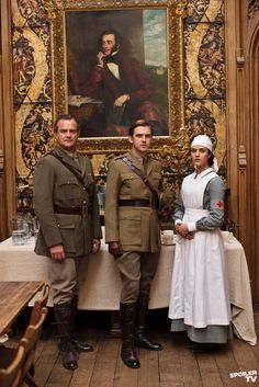 Trio: Serving their country during World War I - Robert Crawley the Earl of Grantham, Matthew Crawley the future Earl of Grantham, and Sybil Crawley
