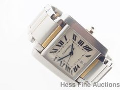 Heavy Genuine Cartier Date Tank Francaise Men's Gold Ss Wrist Watch 2302