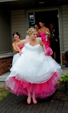 put the color of the bridesmaids dress underneath your dress.. a thought....