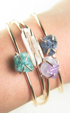 Aqua apatite, clear quartz, amethyst, sapphire, aquamarine and 14k gold fill Kai Cuff Bracelet by kealohajewelry on Etsy
