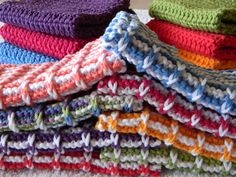 Knit Ribbed Washcloths - pair with hand made soap