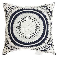 Picture of Navy Embellished Medallion Pillow- 18x18 in.