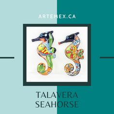 These hand painted Talavera seahorses will make a lovely addition to your home decor. They will look lovely displayed in your kitchen, office, patio or bathroom. Mexican Home Decor, Kitchen Office, Seahorses, Beautiful Patterns, Home Decor Items, Vibrant Colors, Hand Painted, Patio, Bathroom
