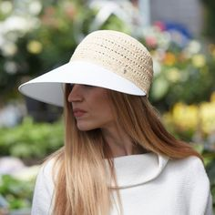 Cotton & Raffia Wide Peak Hat in New Gifts at Terrain