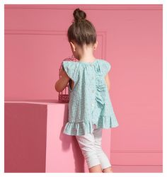 New Girls Clothing Sets Baby Kids Clothes Children Clothing 2 PCS Set Short sleeve Casual Simple Blouse + Pants 4