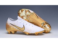 Check our unique selections of Nike Womens Mercurial Vapor XII Elite FG Football Boots - Gold/White/Black on sale for you. Gold Football Boots, White Football Cleats, Soccer Boots, Soccer Cleats, Nike Vapor, Shoe Boots, Shoes, Nike Women, God