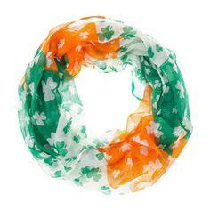 St Patricks Day Flag Shamrock Scarf