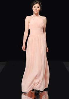 A line Halter Empire Waist Chiffon Floor Length Evening Gowns With Beading - 1300306159B - US$199.99 - BellasDress