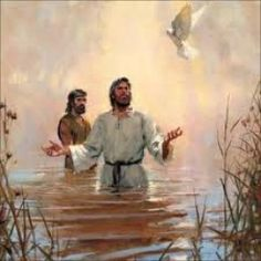Jesus, John, and the Holy Spirit.and the Holy Spirit ascended upon Jesus like a dove. Bible Pictures, Jesus Pictures, Jesus Baptised, Image Jesus, Baptism Of Christ, Religion Catolica, Prophetic Art, Jesus Art, Biblical Art