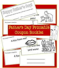 Fathers Day Printable Coupon Book for Dad {Fathers Day Craft}