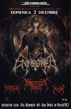 OBSIDIUM EUROPEAN CAMPAIGN 2012 - DOMENICA 2 DICEMBRE: ENTHRONED + FORGOTTEN TOMB + IMPIETY + THRONE @ WIG WAM OFFICINE MECCANICHE