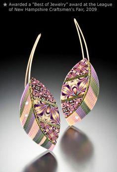 bLeaf Earrings/bbr/ 2 l x 3/4wbr/polymer clay, 23k gold leaf diamonds