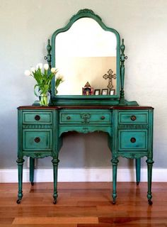 SAMPLE PIECE ONLY Antique Make-up Vanity by EclecticHomeLiving #Shabbychicdressers