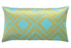 Avenida Maze 14x26 Linen  Pillow, Blue/Lime on OneKingsLane.com #apt