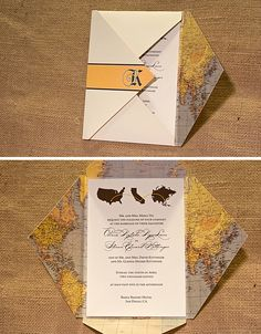 Travel Theme Wedding Invitation with Vintage Map Enclosure by Southern Fried Paper