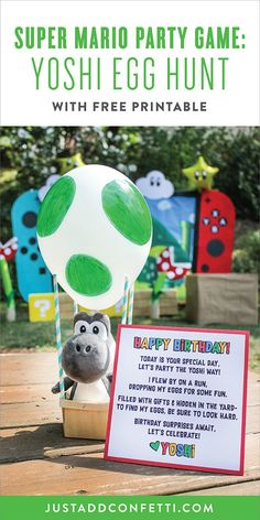 This Yoshi Egg Hunt will be such a fun party game at your Super Mario Birthday Party! Be sure to download the free printable Yoshi poem too! Follow the step-by-step tutorial to make the giant DIY Yoshi eggs. So much Super Mario fun at this party!