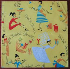 """Vintage Hallmark MOD Bridal Shower """"Mrs-To-Be"""" Gift Wrap Wrapping Paper 1950s"""
