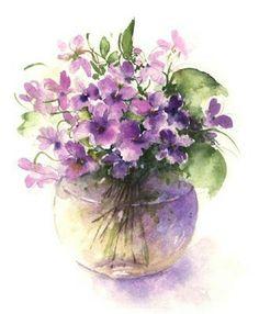 Watercolor floral art / Purple flowers