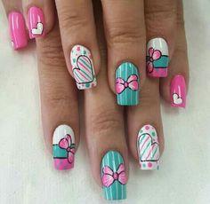 Pink Nail Art, Cute Acrylic Nails, Funky Nails, Dope Nails, Eye Makeup Designs, Nail Art Designs, Easter Nails, Valentine Nails, Perfect Nails