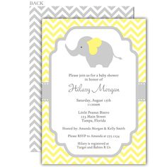 Invite guests to your gender neutral baby shower with this yellow and gray chevron striped invitation featuring an elephant.
