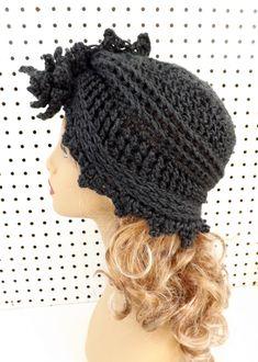 Womens Crochet Hat Pattern Crochet Flower Hat by strawberrycouture